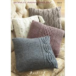 Hayfield Bonus Aran Tweed Cushion Pattern 9804