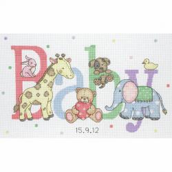 Counted Cross Stitch Kit: Birth Record: Baby Animals