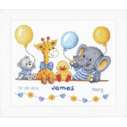Counted Cross Stitch Kit: Birth Record: Animal Cheer