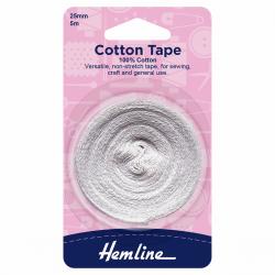 Cotton Tape - White 25mm