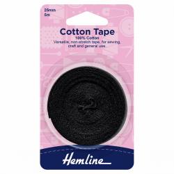 Cotton Tape - Black 25mm