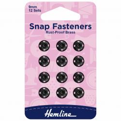 Black Snaps/Press Studs 9mm