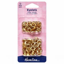 Eyelets Refill Pack: Gold/Brass - 5.5mm