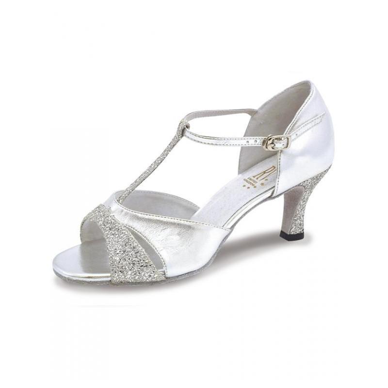 19185b901a4e LUCINA T-Bar Silver Brocade Roch Valley Latin Dance Shoes