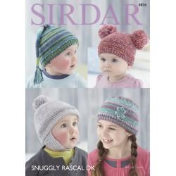 Sirdar Snuggly Baby Child Rascal DK Hats Pattern 4806