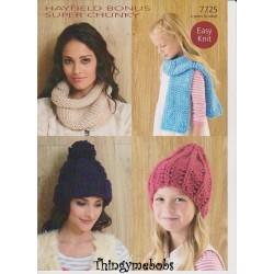 Hayfield Bonus Super Chunky Ladies and Girls Accessories Pattern 7725